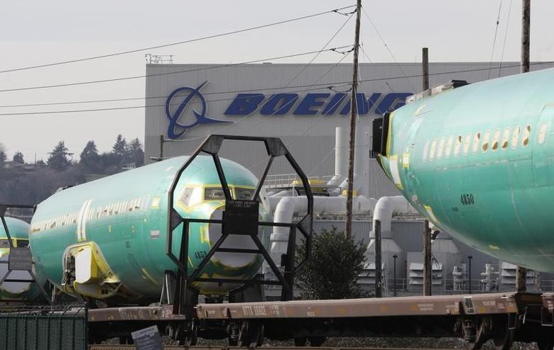 Boeing 737 fuselages are delivered by train to a Boeing manufacturing site in Renton, Washington, February 27, 2014.  REUTERS/Jason Redmond