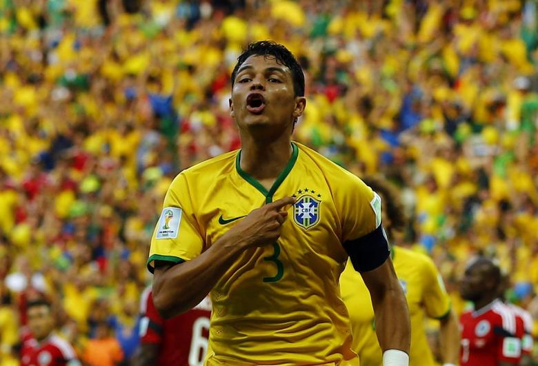Brazil's Thiago Silva celebrates after scoring against Colombia during their 2014 World Cup quarter-finals at the Castelao arena in Fortaleza July 4, 2014.  REUTERS/Marcelo Del Pozo