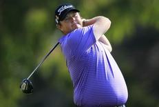 Jarrod Lyle of Australia tees off on the second hole during the final round of the Northern Trust Open golf tournament at Riviera Country Club in Los Angeles, February 19, 2012. REUTERS/Lucy Nicholson