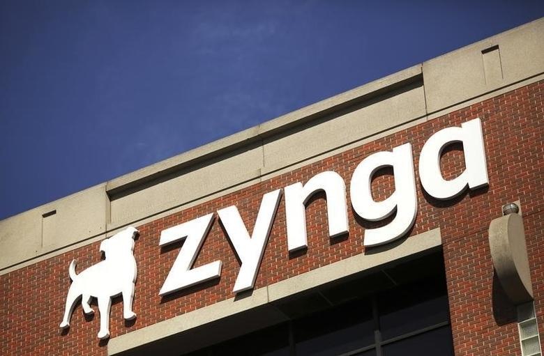 The Zynga logo is pictured at the company's headquarters in San Francisco, California April 23, 2014. REUTERS/Robert Galbraith/Files