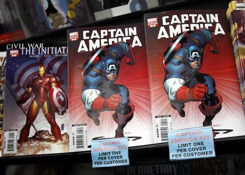 Copies of the Captain America comic book are displayed at a store in New York March 7, 2007. REUTERS/Shannon Stapleton/Files