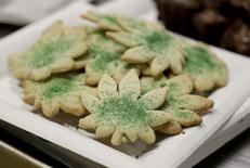 Cookies shaped like marijuana leafs are pictured at the Cannabis Carnivalus 4/20 event in Seattle, Washington April 20, 2014.  REUTERS/Jason Redmond