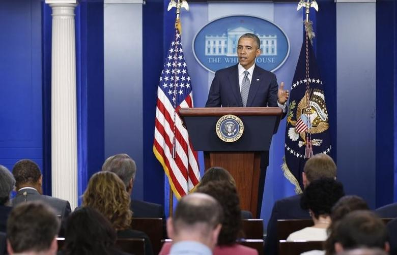 U.S. President Barack Obama discusses the situation in Ukraine during a news conference at the White House in Washington, July 18, 2014.   REUTERS/Larry Downing