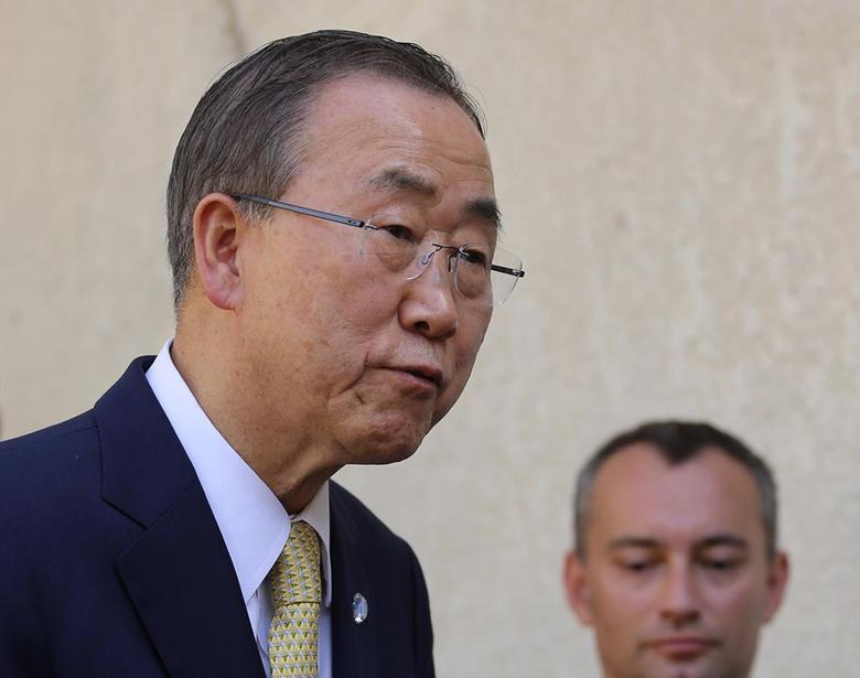 UN Secretary General Ban Ki-moon, speaks to the media after a meeting with Iraq's top Shi'ite cleric Grand Ayatollah Ali al-Sistani in Najaf July 24, 2014. REUTERS/Ahmad Mousa