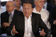 Candidato do PSB à Presidêrncia, Eduardo Campos, durante cerimônia e, Brasília em que foi anunciada sua candidatura e a de Marina Silva para vice-presidente. 14/04/2014. REUTERS / Ueslei Marcelino