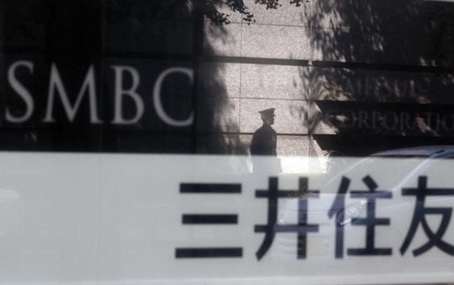 8月1日、関係筋によると、オライオン・パートナーズが国内で保有する有料老人ホームなどのヘルスケア関連資産の売却で、三井住友銀行系の資産保有会社が優先交渉に入った。写真は同行の看板。2012年7月撮影(2014年 ロイター/Yuriko Nakao)