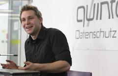 Law student Max Schrems briefs the media in Vienna February 7, 2012.   REUTERS/Herwig Prammer