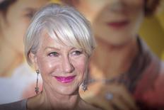 Actress Helen Mirren arrives for the world premiere of her film 'The Hundred-Foot Journey' in the Manhattan borough of New York August 4, 2014.       REUTERS/Carlo Allegri