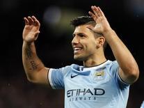 O jogador argentino Sergio Aguero, do Manchester City, comemora gol em jogo contra o Blackburn Rovers pela FA Cup, em Manchester, na Inglaterra, em janeiro. 15/01/2014 REUTERS/Phil Noble