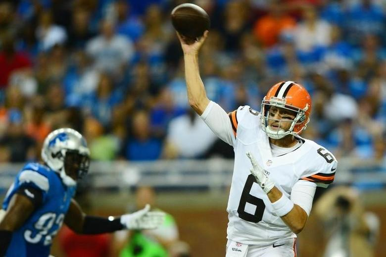 Aug 9, 2014; Detroit, MI, USA; Cleveland Browns quarterback Brian Hoyer (6) throws a pass during the first quarter against the Detroit Lions at Ford Field. Andrew Weber-USA TODAY Sports