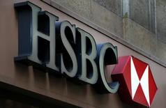 A sign is seen above the entrance to an HSBC bank branch in midtown Manhattan in New York City, December 11, 2012. HSBC has agreed to pay a record $1.92 billion fine to settle a multi-year probe by U.S. REUTERS/Mike Segar