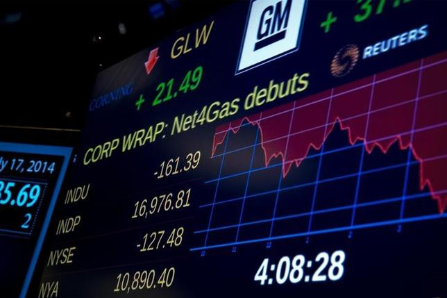 A screen shows the Dow Jones Industrial Average after the closing bell on the floor of the New York Stock Exchange July 17, 2014. REUTERS/Brendan McDermid