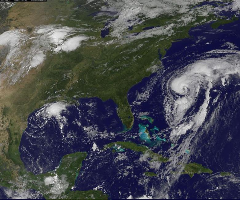 Hurricane Cristobal is seen off the east coast of the United States in an image taken from NOAA's Goes-East satellite at 0907EDT/1307GMT August 27, 2014. REUTERS/NOAA/Handout via Reuters