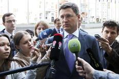 Ministro da Energia russo, Alexander Novak, fala com jornalistas ao chegar para uma reunião na sede da Comissão Europeia, em Bruxelas. 11/06/2014. REUTERS/Francois Lenoir