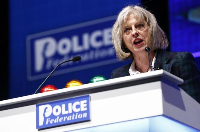 Britain's Home Secretary Theresa May addresses the Police Federation's conference in Bournemouth, southern England May 21, 2014.     REUTERS/Andrew Winning