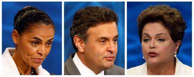 Montagem com as fotos dos candidatos à Presidência (esquerda/direita) Marina Silva (PSB), Aécio Neves (PSDB) e Dilma Rousseff (PT) durante o primeiro debate na televisão, em São Paulo, nesta semana. 26/08/2014 REUTERS/Paulo Whitaker