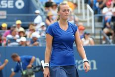 Aug 30, 2014; New York, NY, USA;  Petra Kvitova (CZE) reacts to losing a point to Aleksandra Krunic (SRB) at Armstrong Stadium on day six of the 2014 U.S. Open tennis tournament at USTA Billie Jean King National Tennis Center. Anthony Gruppuso-USA TODAY Sports