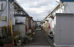 A view shows the Izumitamatsuyu temporary housing estate, where 200 former Tomioka town residents have evacuated to, in Iwaki, Fukushima prefecture in this November 8, 2013 file photo.    REUTERS/Sophie Knight