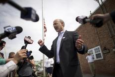 Democratic candidate for Pennsylvania Governor Tom Wolf speaks to the media after casting his ballot on primary election day at Eagle Fire Company #1 in Mt. Wolf May 20, 2014.  REUTERS/Mark Makela