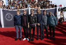 Maroon 5 arrives at the 2014 MTV Music Video Awards in Inglewood, California August 24, 2014.  REUTERS/Kevork Djansezian