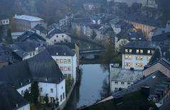The Petrusse river is seen in this general view of the city of Luxembourg in this picture taken on November 20, 2012. REUTERS/Francois Lenoir