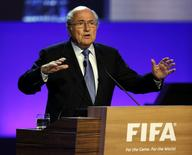 Presidente da Fifa, Joseph Blatter, discursa durante o 65º Congresso da Fifa em São Paulo. 09/09/2014 REUTERS/Paulo Whitaker