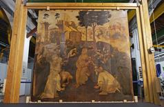 The Adoration of the Magi, a massive painting that Leonardo da Vinci started in 1481 at the age of 29 but abandoned a year later, leaving it in various stages of conception and development, is unveiled in Florence September 23, 2014.   REUTERS/Max Rossi