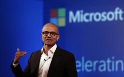 Microsoft Chief Executive Officer (CEO) Satya Nadella addresses the media during an event in New Delhi September 30, 2014. REUTERS/Adnan Abidi