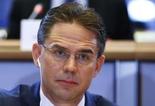 European Jobs, Growth, Investment and Competitiveness Commissioner-designate Jyrki Katainen looks on before addressing the European Committee on Economic and Monetary Affairs at the EU Parliament in Brussels October 7, 2014.  REUTERS/Yves Herman