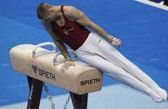 Krisztian Berki of Hungary competes on the pommel horse during the men's apparatus finals at the European Men's and Women's Artistic Gymnastic individual Championships in Moscow April 20, 2013.  REUTERS/Maxim Shemetov