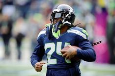 Oct 12, 2014; Seattle, WA, USA; Seattle Seahawks running back Marshawn Lynch (24) during pre game warm ups prior to the game against the Dallas Cowboys at CenturyLink Field. Mandatory Credit: Steven Bisig-USA TODAY Sports