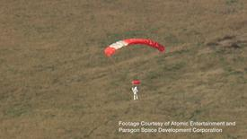 Google's vice president Alan Eustace is seen returning to earth after a record-breaking skydive over New Mexico, in this still image taken from video October 24, 2014, a handout courtesy of the Paragon Space Development Corporation.  REUTERS/Paragon Space Development Corporation/Handout via Reuters