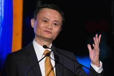 Alibaba Group Holding Ltd founder Jack Ma speaks after accepting the Game Changer of the Year award during the Asia Society's Game Changer Awards at United Nations headquarters in New York October 16, 2014. REUTERS/Lucas Jackson