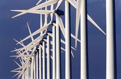 Theolia, groupe spécialisé dans la production d'électricité d'origine éolienne, fait état d'un chiffre d'affaires de 74,5 millions d'euros sur la période janvier-septembre, soutenu par une hausse de 11% de la vente d'électricité pour compte propre et la multiplication par 3,5 de l'activité de la division développement, construction et vente. /Photo d'archives/REUTERS/Jean-Paul Pélissier
