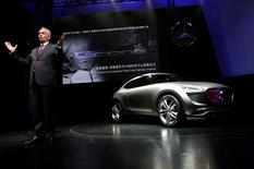 Hubertus Troska, chairman and chief executive officer of Daimler Greater China, introduces Mercedes-Benz's new Sport Utility Coupe concept car G-Code at its unveiling event during the opening ceremony of the company's Mercedes-Benz research and development (R&D) centre in Beijing November 3, 2014.   REUTERS/Kim Kyung-Hoon