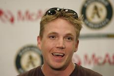 Oakland Athletics pitcher Brad Halsey holds a press conference in Oakland, California, May 20, 2006. REUTERS/Kimberly White