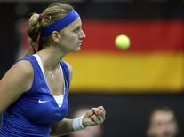 Czech Republic's Petra Kvitova reacts during their final match of the Fed Cup tennis tournament against Germany's Angelique Kerber in Prague November 9, 2014. REUTERS/David W Cerny