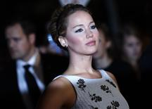 """Actress Jennifer Lawrence arrives for the world premiere of """"The Hunger Games: Mockingjay Part 1"""" at Leicester Square in London November 10, 2014.  REUTERS/Luke MacGregor"""