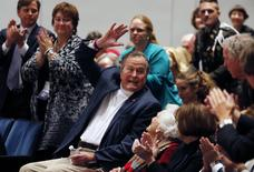 "Former United States President George H. W. Bush and former first lady Barbara Bush attend a program to launch the new book titled ""41: A Portrait of My Father"" at the George Bush Presidential Library Center in College Station, Texas November 11, 2014.  REUTERS/Bob Daemmrich/Pool"