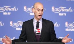 NBA Commissioner Adam Silver speaks at a press conference before Game 2 of the NBA Finals basketball series between the San Antonio Spurs and the Miami Heat in San Antonio, Texas, June 8, 2014. REUTERS/Mike Stone