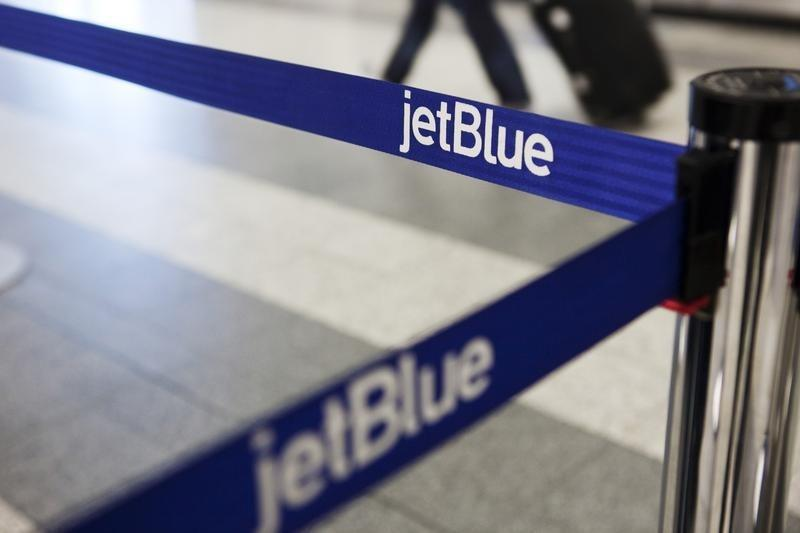 A Jetblue Airways Logo Is Seen At The Check In Counter Laguardia Airport New York April 5 2017 Reuters Lucas Jackson