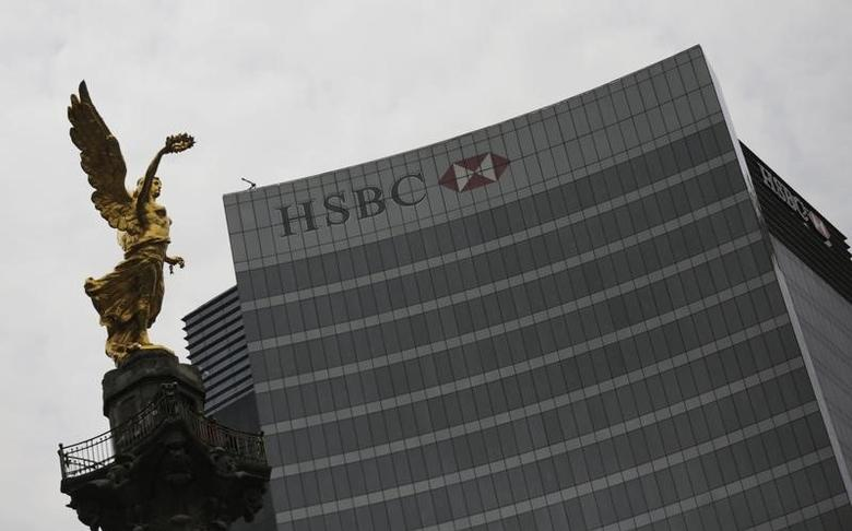 The logo of HSBC Bank is seen on an office building in Mexico City July 22, 2014.  REUTERS/Henry Romero