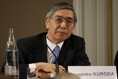 Bank of Japan Governor Haruhiko Kuroda attends a conference of central bankers hosted by the Bank of France in Paris November 7, 2014.   REUTERS/Charles Platiau