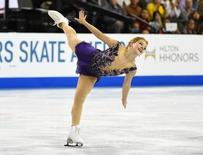 Oct 26, 2014; Hoffman Estates, IL, USA; Gracie Gold of the USA performs during the ladies free skate for the 2014 Skate America figure skating competition at Sears Centre. Mandatory Credit: Mike DiNovo-USA TODAY Sports