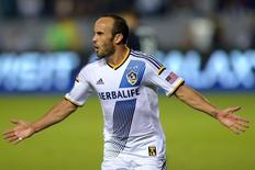 Los Angeles Galaxy forward Landon Donovan  (10) reacts after scoring his third goal for a hat trick against the Real Salt Lake during the second half at StubHub Center. Nov 9, 2014; Carson, CA, USA; Jake Roth-USA TODAY Sports
