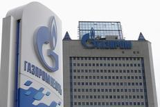 En la imagen de archivo, una vista general de la sede de Gazprom, el día de la reunión anual de sus accionistas en Moscú, el 27 de junio. Gazprom dijo el sábado que recibió un prepago de 378,22 millones de dólares de Ucrania por suministros de gas natural, lo que allana el camino para los primeros envíos hacia Kiev desde que Moscú cortó el abastecimiento en junio. REUTERS/Sergei Karpukhin (RUSSIA - Tags: BUSINESS ENERGY) - RTR3W25X