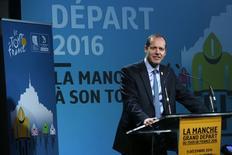 Tour de France General Director Christian Prudhomme delivers a speech during the presentation for the Tour de France 2016 departure from the Mont Saint-Michel December 9, 2014.  REUTERS/Jacky Naegelen