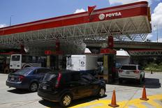 Una gasolinera de PDVSA en Caracas, ago 29 2014. Las petroleras estatales Oil and Natural Gas Corp (ONGC) de India y Petróleos de Venezuela (PDVSA) están en busca de un crédito de unos 1.000 millones de dólares para frenar la caída del bombeo de su empresa mixta San Cristóbal, dijeron a Reuters dos fuentes cercanas a las negociaciones.  REUTERS/Carlos Garcia Rawlins