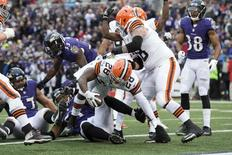 Dec 28, 2014; Baltimore, MD, USA; Cleveland Browns running back Terrance West (28) dives into the end zone for a touchdown during the third quarter against the Baltimore Ravens at M&T Bank Stadium. Mandatory Credit: Tommy Gilligan-USA TODAY Sports