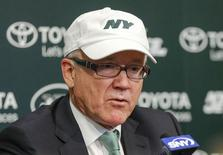 Dec 29, 2014; Florham Park, NJ, USA;  New York Jets chairman and chief executive officer Woody Johnson addresses the media regarding the dismissal of general manager John Idzik (not pictured) and head coach Rex Ryan (not pictured) at the Atlantic Health Jets Training Center. Mandatory Credit: Jim O'Connor-USA TODAY Sports
